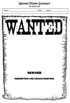 Exit Ticket Wanted Poster Summary or Interactive Notebook Output