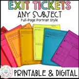Exit Tickets   Full Page   Any Subject   Printable & Digital   Google