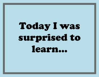 Exit Ticket and End of Lesson Sentence Starters