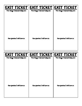 Exit Ticket for Quick Assessment