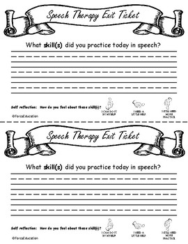 Exit Ticket from Speech Therapy