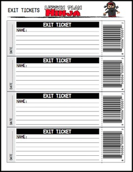 exit ticket or ticket out the door template by lesson plan ninja