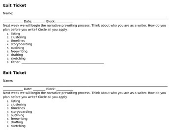 Exit Ticket to Assess Prewriting Preference
