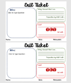 Exit Ticket with Self Reflection and Student Planning