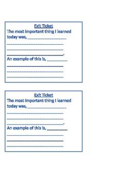 Exit Tickets!