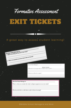 Exit Tickets: Formative Assessment (multiple exit question