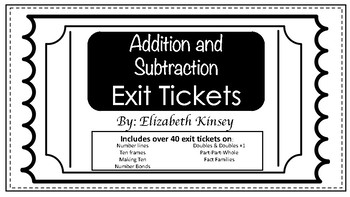 Exit Tickets- Addition and Subtraction 1st Grade
