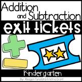Exit Tickets Addition and Subtraction Kindergarten