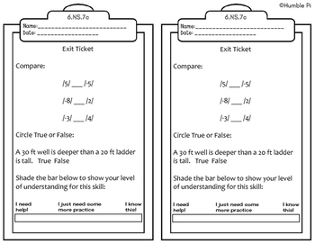 Exit Tickets-All 6th Grade Number Systems Standards