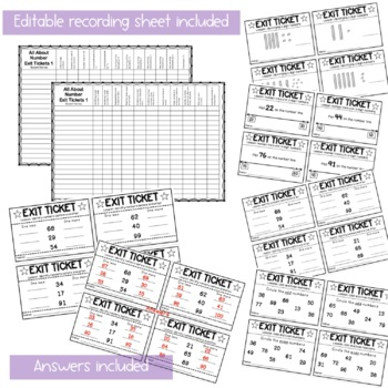 Exit Tickets - Exit Slips - Math Number Sense Assessment - Grade 1