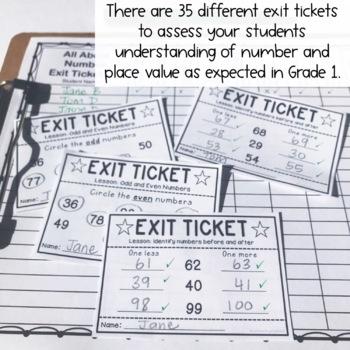 Exit Tickets - Exit Slips - Math Number Sense Assessment - Grade 1