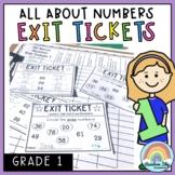 Math Exit Tickets - Math Exit Slips - Math Number Sense Assessment - Grade 1