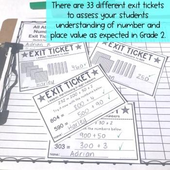 Math Exit Tickets - Exit Slips - Math Assessment - Number Sense Grade 2