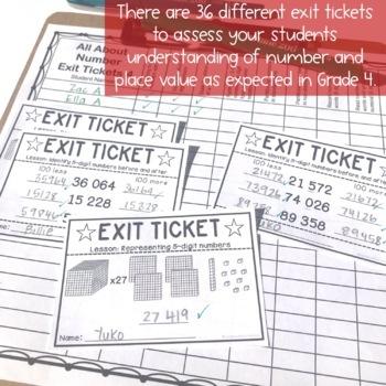 Exit Tickets - Exit Slips - Math assessment - Number Sense Grade 4