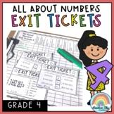 Math Exit Tickets - Exit Slips - Math assessment - Number Sense Grade 4