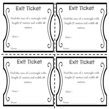 Exit Tickets: Area, Perimeter and Volume