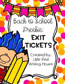 Exit Tickets {Back to School FREEBIE}