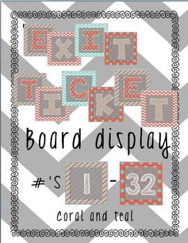 Exit Tickets Bulletin Board Coral and Teal Coordinating Colors