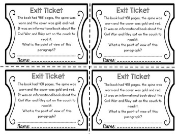 Exit Tickets: Point of View