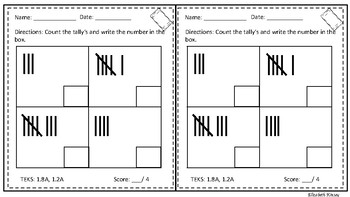 Exit Tickets- Data, Graphing and Tally Marks 1st Grade