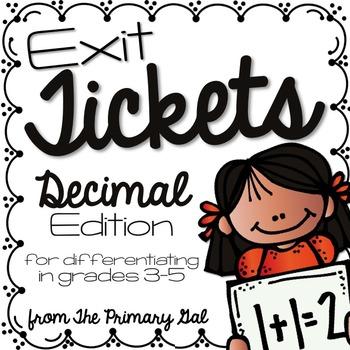 Decimals Exit Tickets {Exit Slips for Quick Assessments}
