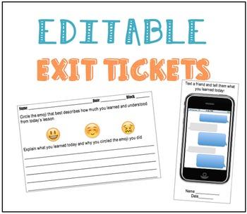 Exit Tickets *EDITABLE*