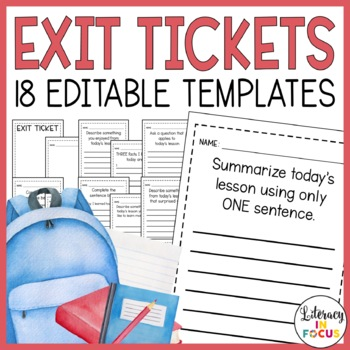 exit tickets editable create your own by literacy in focus tpt