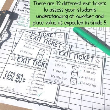 Exit Tickets - Exit Slips - Math assessment - Number Sense Grade 5