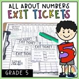 Math Exit Tickets - Math Exit Slips - Math assessment - Number Sense Grade 5