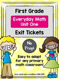First Grade Exit Tickets (Everyday Math Unit 1)