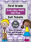 First Grade Exit Tickets (Everyday Math Unit 5)