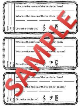 Music Exit Tickets TREBLE CLEF PITCHES