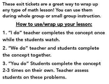 Exit Tickets (I do, we do, you do)