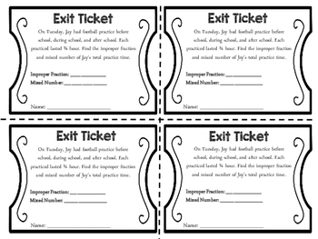 Exit Tickets: Improper Fractions and Mixed Numbers