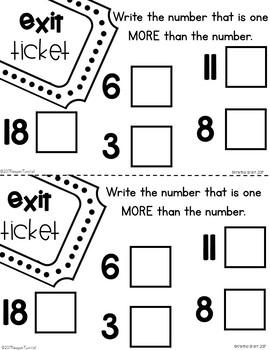 Exit Tickets Kindergarten Comparing Numbers