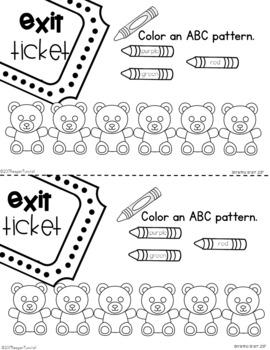 Exit Tickets Kindergarten Number Patterns