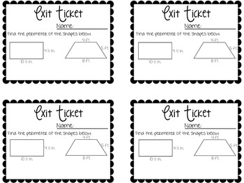Perimeter Amp Area Exit Tickets Exit Slips For Quick