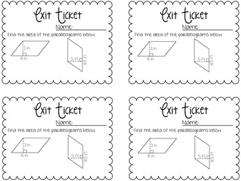 Perimeter & Area Exit Tickets {Exit Slips for Quick Assessments}