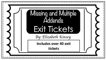 Exit Tickets- Missing and Multiple Addends 1st grade