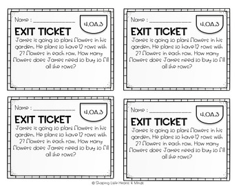Exit Tickets: Multiplication 2 Digits by 2 Digits