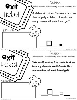 Exit Tickets Multiplication and Division for Second Grade