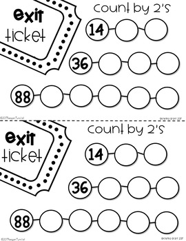 Exit Tickets Number Sense and Skip Counting First Grade