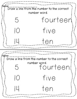 Exit Tickets-- Number words