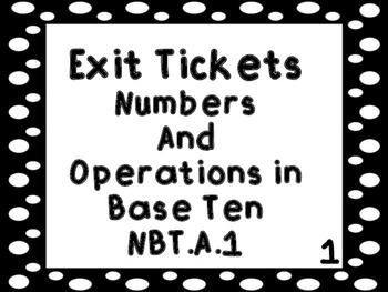 Exit Tickets Numbers and Operations Base Ten Kindergarten