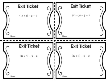 Exit Tickets: Order of Operations