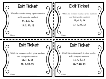 Exit Tickets: Prime and Composite Numbers