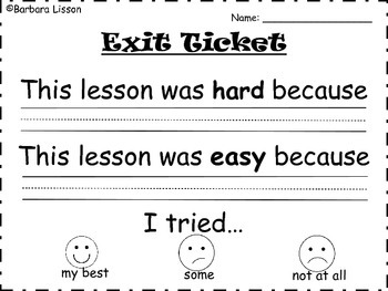 Exit Tickets: Students Reflecting on Lessons