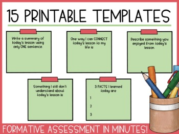 Exit Tickets - 15 Sticky Note Templates