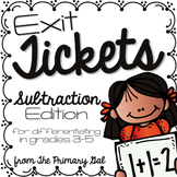 Subtraction Exit Tickets {Exit Slips for Quick Assessments}