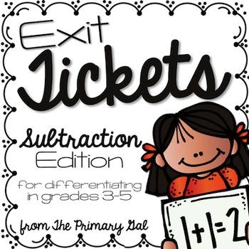 Subtraction Exit Tickets